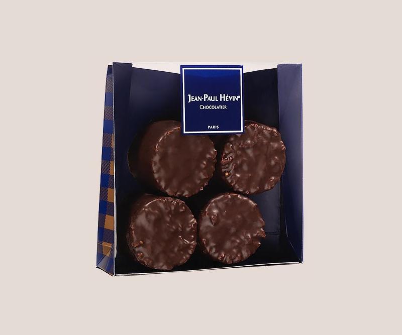 sachet 4 rochers praliné chocolat noir