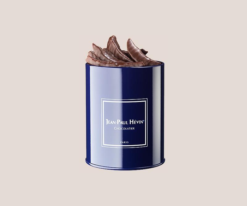 Boite métal orangettes chocolat noir